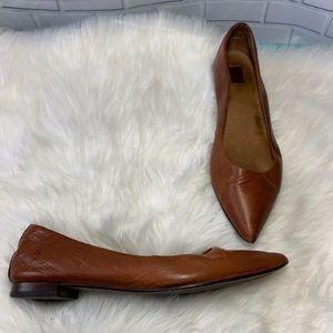 Frye Sienna Saddle Tan Ballet Flats Size 8.5